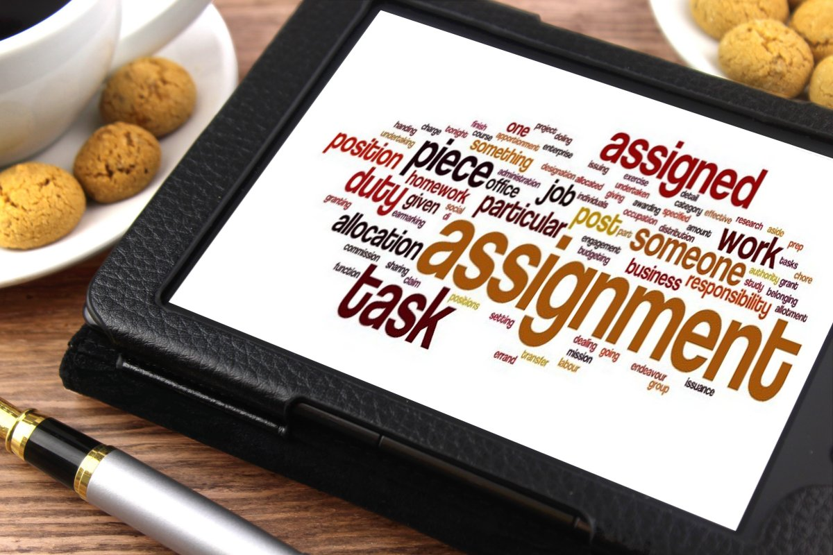 assignment word cloud on a tablet assignment