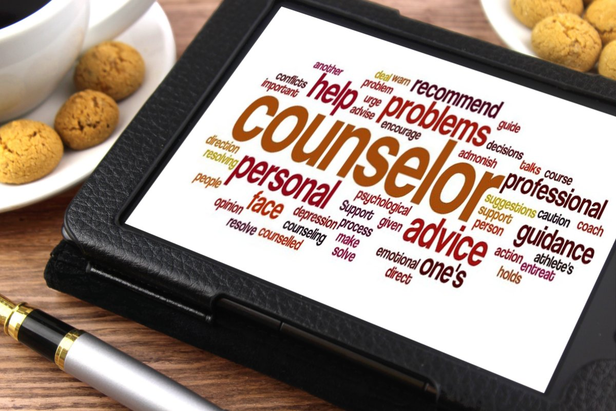 counselor word cloud on a tablet
